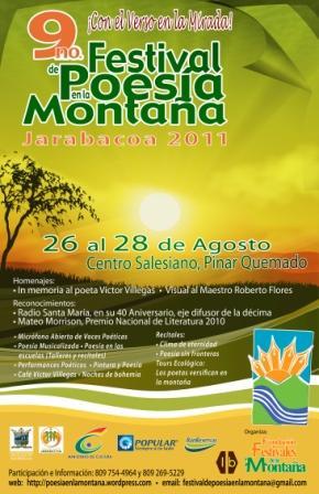 POR NOVENA OCASIÓN, JARABACOA SERÁ LA CAPITAL POÉTICA NACIONAL DURANTE EL FESTIVAL DE POESÍA EN LA MONTAÑA 2011.